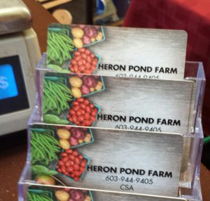 Heron Pond Farm offers CSA farm-credit options on a debit card in addition to their traditional boxed share. So 2015!